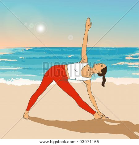 Girl in yoga's asana on the beach.