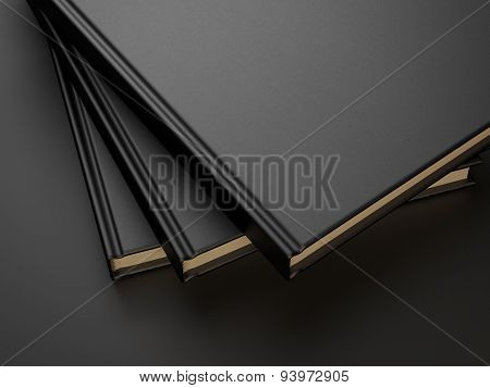 three books with black blank cover. 3d render