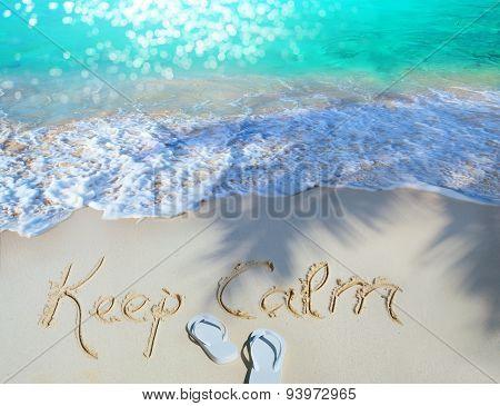Art Summer Concept Of Sandy Beach, Keep Calm Motivational