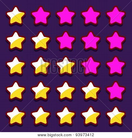 Space game rating stars icons buttons
