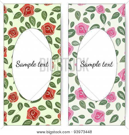Vector cards with roses. Wedding invitation with red and pink roses.