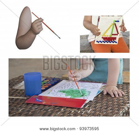 Collage Childrens Hand With Brush
