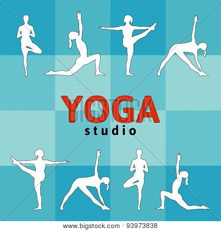 Vector yoga illustration in red, blue, white and black colors.