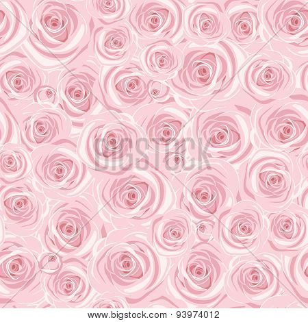 Seamless background with pink roses. Vector illustration.