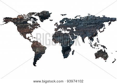 World Map On The Background Of Burnt Wood. Isolated On White Background