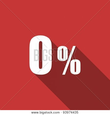 0 percent flat design modern icon with long shadow for web and mobile app