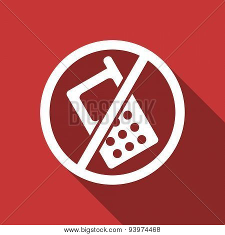 no phone flat design modern icon with long shadow for web and mobile app