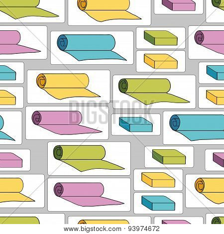 Seamless pattern with yoga mats and bricks