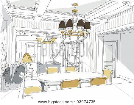 Contemporary interior doodles.