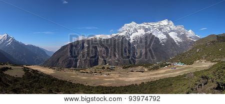 Syangboche Airport And Snow Capped Kongde Ri