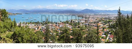Panoramic Aerial View Of Fethiye Marine And City Center In Mugla Province