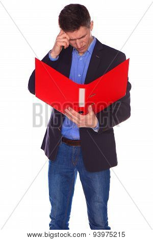 Portrait of businessman with folder, isolated