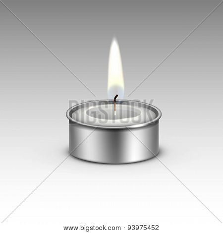 Candle in the Metal Candlestick Flame Fire Light