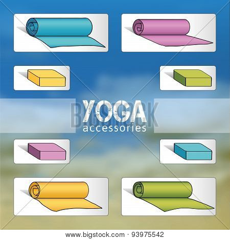 Yoga mats and bricks in blue, violet, yellow, green colors.
