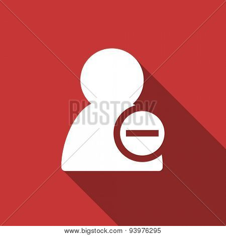 remove contact flat design modern icon with long shadow for web and mobile app