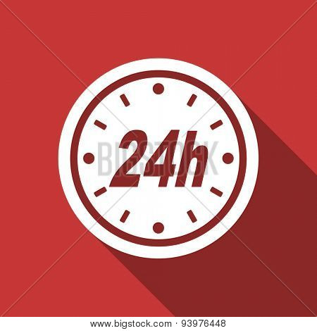 24h flat design modern icon with long shadow for web and mobile app