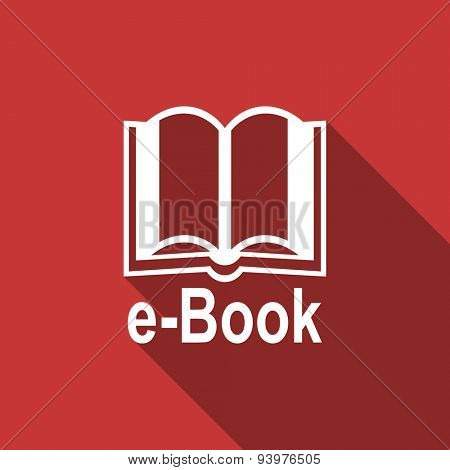 book flat design modern icon with long shadow for web and mobile app