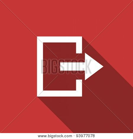 exit flat design modern icon with long shadow for web and mobile app
