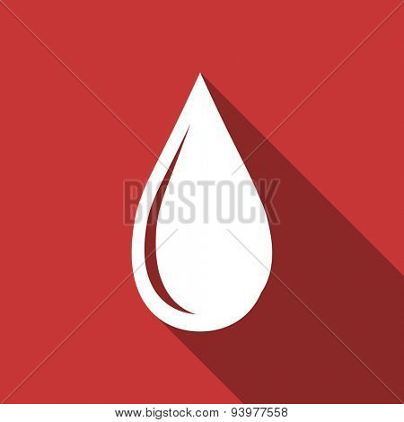 water drop flat design modern icon with long shadow for web and mobile app