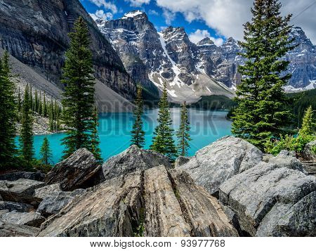 Moraine lake in the Valley of Ten Peaks