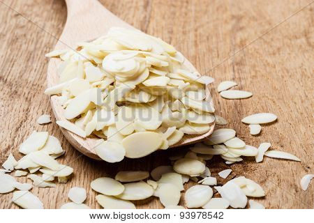 Almond Slices On Wooden Spoon