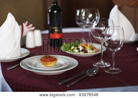 Red Caviar And Salad On The Serving Table