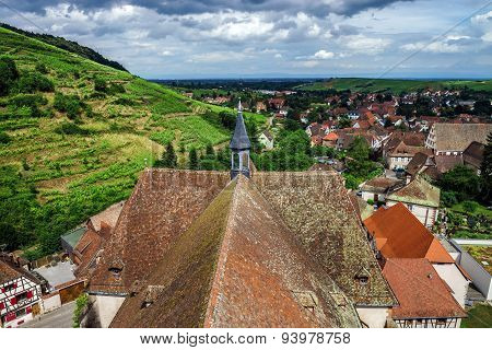 Wide Panoramic Bird-fly View. Alsace Hills.