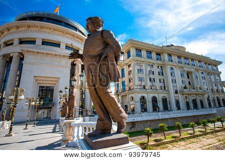Sculptures on the Art bridge in Skopje