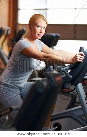 Woman Using Home Trainer