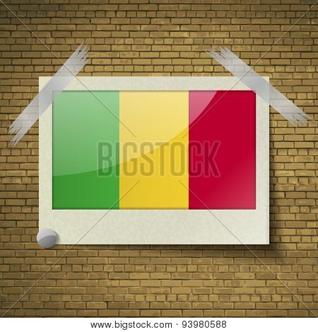 Flags Mali At Frame On A Brick Background. Vector