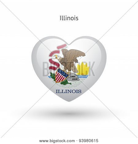 Love Illinois state symbol. Heart flag icon.