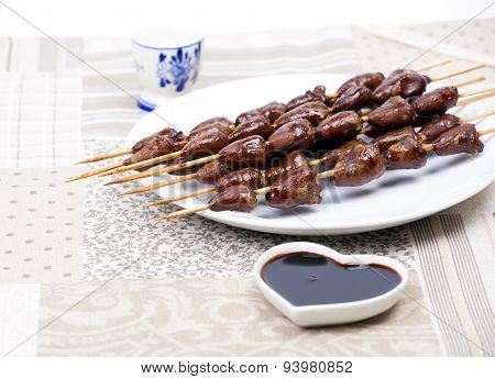 Chicken Skewers Hearts