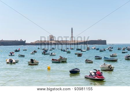 Boats At Caleta Beach In Cadiz