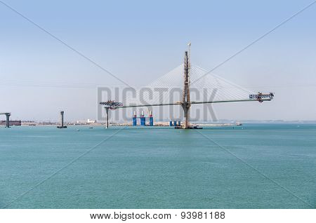 Construction Of La Pepa Bridge In Cadiz
