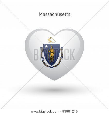 Love Massachusetts state symbol. Heart flag icon.