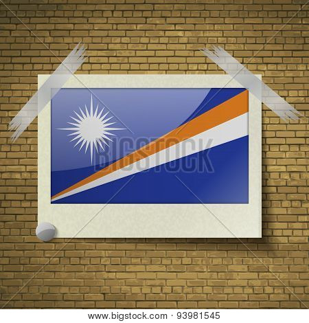 Flags Marshll Islands At Frame On A Brick Background. Vector
