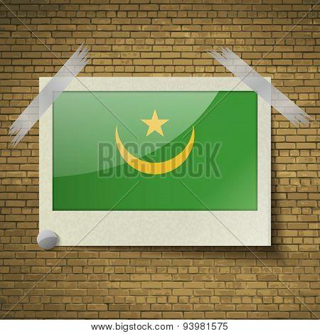 Flags Mauritania At Frame On A Brick Background. Vector
