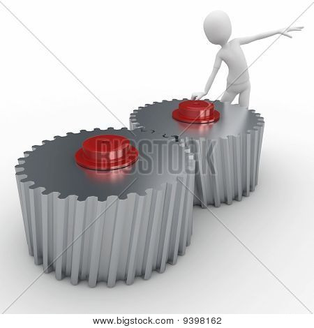 3D Man With Cogwheel