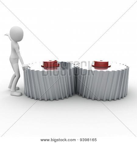 3D Man With Cogwheel