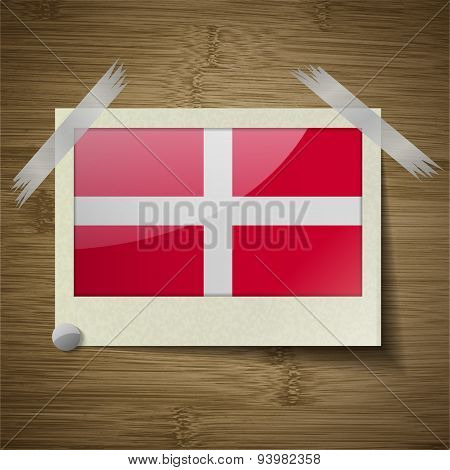 Flags Military Order Malta At Frame On Wooden Texture. Vector