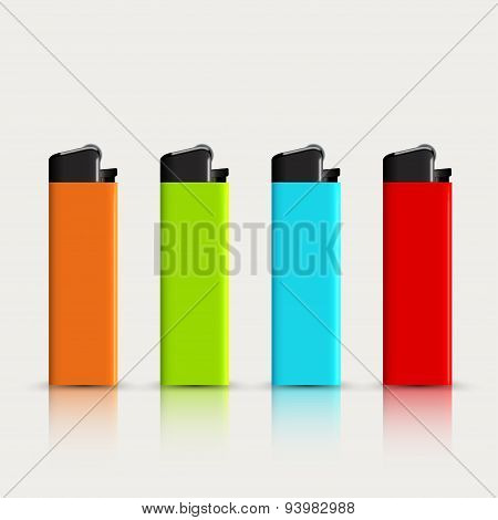 vector set of colorful lighters with reflection