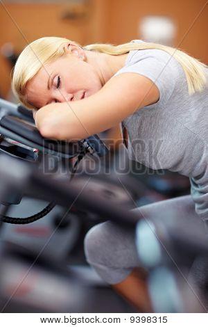 Sleeping Woman On Hometrainer