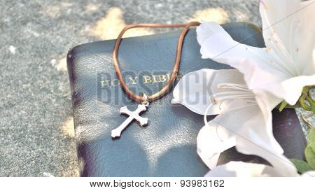 Christian Cross And Bible Background