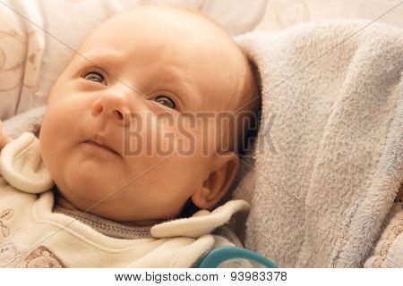 Little Newborn Baby Girl Lying
