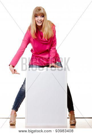 Woman Holding Blank Presentation Board