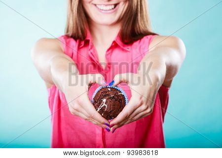 Hands Heart Shape With Muffin. Confectionery.