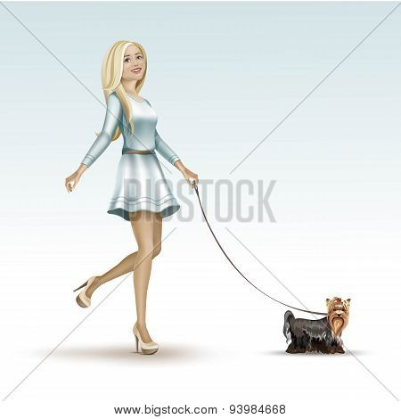 Blonde Woman Girl in Fashion Dress Walking the Dog