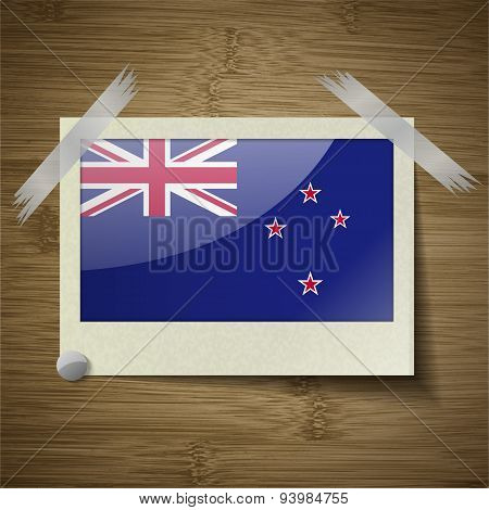 Flags New Zeland At Frame On Wooden Texture. Vector