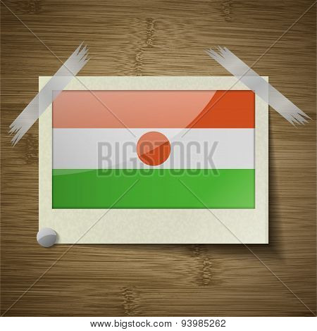 Flags Niger At Frame On Wooden Texture. Vector