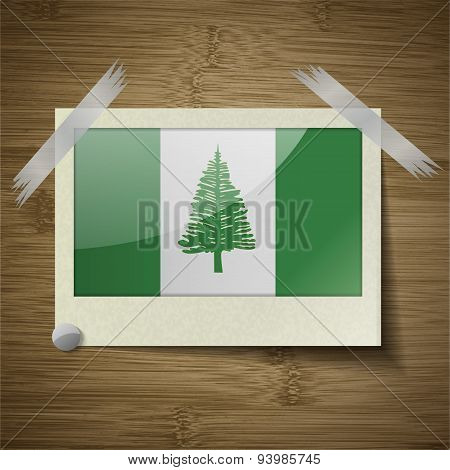 Flags Norfolk Island At Frame On Wooden Texture. Vector